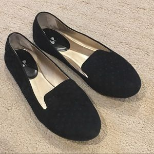 BP Nordstrom black suede flats with dots 8 M